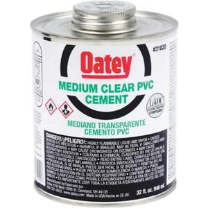 2 Pk Oatey Quart Medium bodied Clear Pvc Pipe Fitting Cement 31020