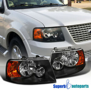 For 2003 2006 Ford Expedition Black Headlights Head Lamps Replacement