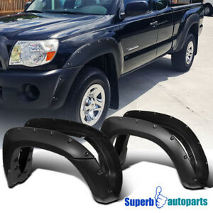 Fit 05 11 Toyota Tacoma 6 Bed 4pc Black Jdm Sporty Pocket Rivet Fender Flares
