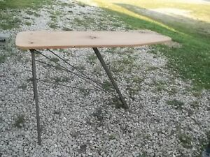 Great For Decor Vintage Old Primitive Wood And Metal Clothes Ironing Board