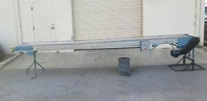 Slider Bed Belt Conveyor 17 Ft Long 18 Wide 115v 1 Phase W 26 Ft Metal Roller