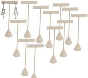 Lot Of 12 beige Velvet Earring Display Stand Earring Tree Earring Stand 6 3 4 H