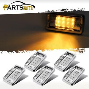 5x Cab Marker Roof Running Top Light Clear amber 8led W Chrome For Freightliner
