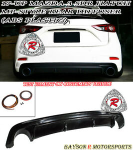 Mp style Rear Bumper Diffuser Lip Fits 17 18 Mazda 3 5dr hatchback