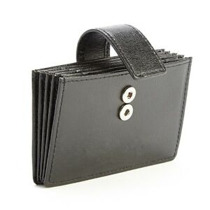 Royce Leather Black Rfid Blocking Card Organizer Wallet In Saffiano Leather
