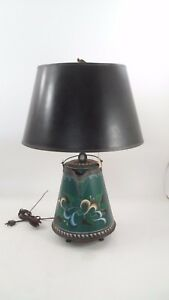 Nice Old Prim Folk Art Squash Blossom Tole Painted Copper Kettle Pot Table Lamp