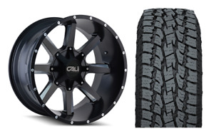20 Cali Offroad 9100 Busted Black Wheels Toyo At Tires Package 6 5 5 Gmc Chevy
