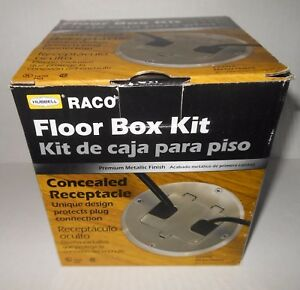 Hubbell Raco Concealed Duplex Floor Receptacle Box Kit Nickel Plated 6239nl New