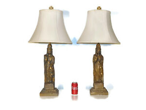 Pair Hollywood Regency Westwood Chinoiserie Quan Lin Buddha Figural Lamps
