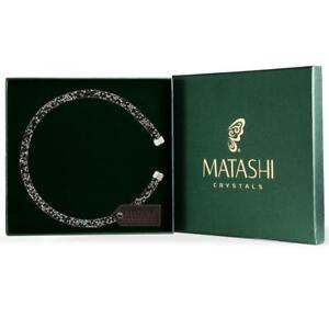 Ore Black Glittery Luxurious Crystal Bangle Bracelet By Matashi