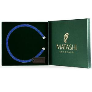 Blue Glittery Luxurious Crystal Bangle Bracelet By Matashi