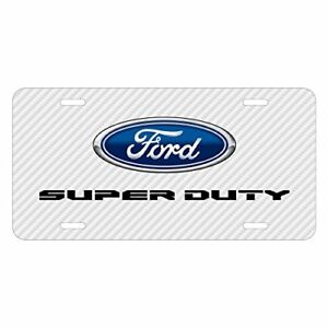 Ford Super duty 2016 To 2017 White Carbon Fiber Texture Uv Metal License Plate
