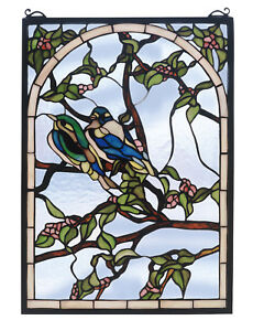 Lovebirds Stained Glass Window 20 X 14 Inches With 398 Pieces Of Glass