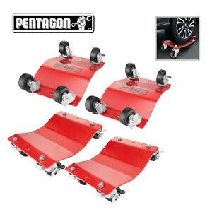Pentagon Tool Commercial Grade 4 pack Tire Dolly Tire Skates Red