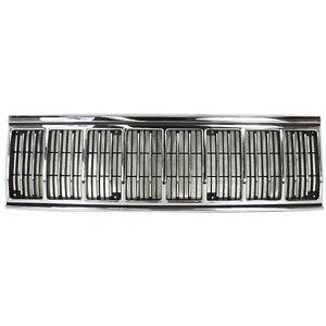 Grille For 91 96 Jeep Cherokee Chrome Shell W Black Insert Plastic