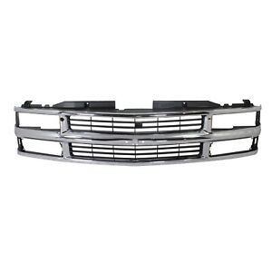 Grille For 94 99 Chevrolet K1500 C1500 Chrome Shell With Black Insert Plastic