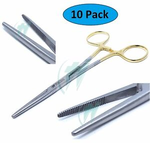 10 Pcs O r Grade Kelly Hemostat Locking Forceps 5 5 Straight With Gold Handle