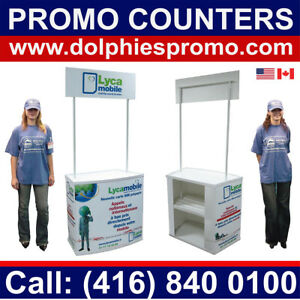 Portable Trade Show Counter Promo Promotion Table Stand Kiosk Custom Graphics