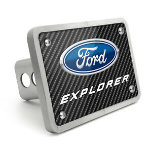 Ford Explorer Black Carbon Fiber Texture Plate Billet 2 Inch Tow Hitch Cover