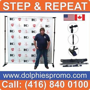 Step And Repeat Telescopic Wall Banner Stand 95 96 Black Frame Traveling Bag