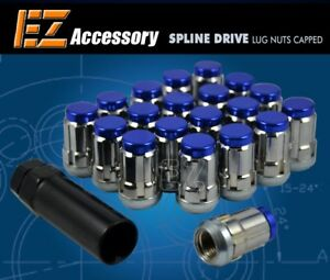 20 Pc Set Capped Spline Drive Lug Nuts Blue 12x1 25 For Nissan Infiniti Subaru