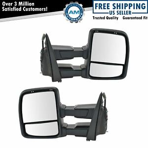 Towing Mirrors Power Heated Signal Spotlight Textured Black Pair For Ford F150