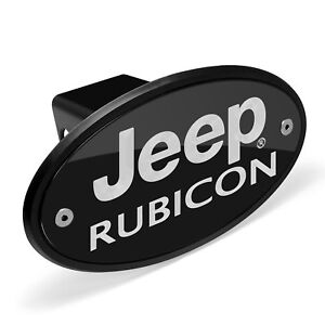 Jeep Rubicon Black Metal Plate 2 Inch Tow Hitch Cover