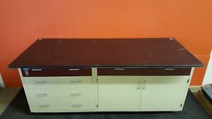 Industrial Laboratory Base Cabinet 5 Drawers Storage Area Includes Resin Top
