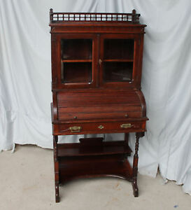 Antique Victorian Secretary Roll Top Desk With Bookcase 30 Inches Wide