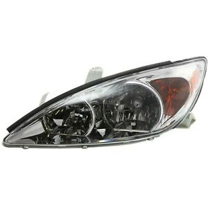 Headlight For 2002 2003 2004 Toyota Camry Sedan Left Chrome Housing With Bulb