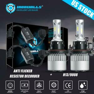 Cree H13 9008 Led Headlight Bulbs Kit Hi Lo Beam White 6500k With Canbus Adapter