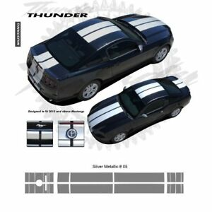 Ford Mustang W Lip Spoiler 2013 Rally Stripes Graphic Kit Metallic Silver