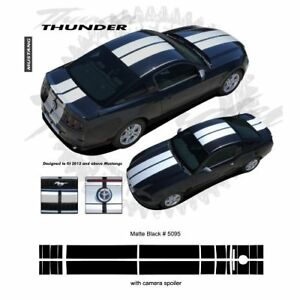Ford Mustang W Camear Lip Spoiler 2013 Rally Stripes Graphic Kit Matte Black