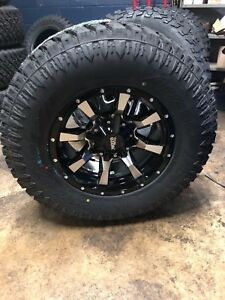 Mo970 17x9 Black Machined Wheels Rims Xt Tires Package 8x6 5 33 Dodge Ram Chevy