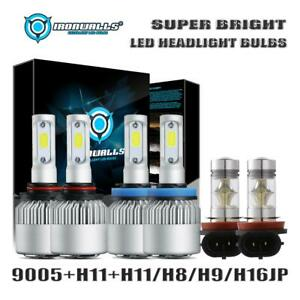 Ironwalls 9005 h11 H11 H8 Led Headlight Hi lo fog Lights Bulbs Combo 1500w Kit