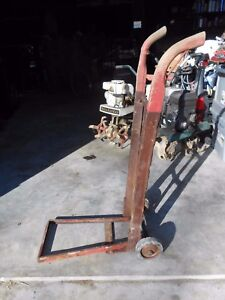Antique Fold Down Heavy Duty Industrial Wood Iron Dolly Hand Truck Farm Railroad