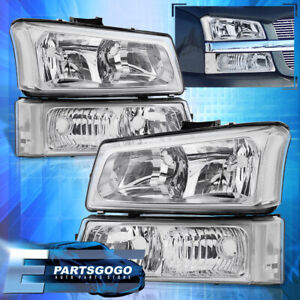 For 03 06 Chevy Silverado Chrome Replacement Head Lights Signal Bumper Lamps