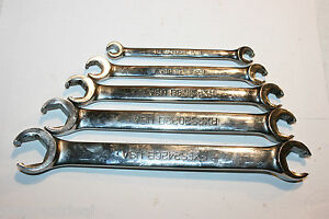 Snap On Tools Flare Nut Double End 6p Wrench Set 1 4 5 16 3 4 13 16 5pc