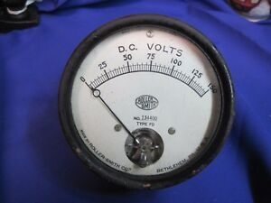 Industrial Roller Smith Volt Meter Gauge 3 3 4 Vintage Stempunk To 150 Volts