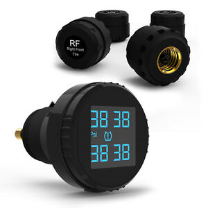 Wireless Car Tpms Tire Tyre Pressure Monitor System 4 Sensor Cigarette Lighter