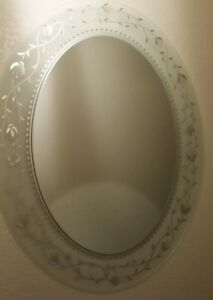 Mid Century Modern Oval Frame Less Mirror Crystal Etched Wall Art Flat 2 Aval