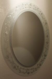 Mid Century Modern Oval Frame Less Mirror Crystal Etched Wall Art 2 Aval
