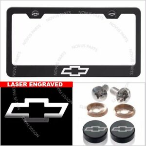 Cover For Chevrolet With Caps Laser Engraved License Plate Frame Stainless Steel