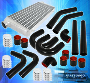 Tube Fin Front Mount Intercooler Fmic 75mm Aluminum Pipe Piping Kit Unit Set