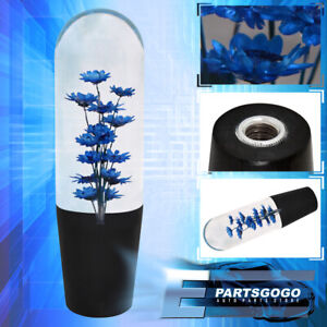 Universal 150mm Blue Flower Filled Poly Shift Knob Clear Transparent