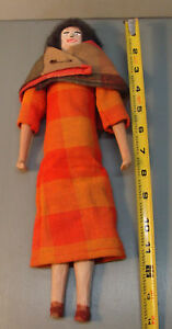 Primitive Hand Carved Folk Art Wooden Peg Doll Jointed Arms Legs 14