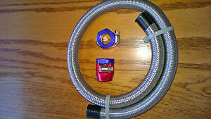 Braided Stainless Steel Flexible Fuel Line Kit 5 16 I D Red Blue Clamps 24