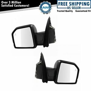 Mirror Power Heated Signal Blind Spot Spotlight Textured Black Pair Set For Ford