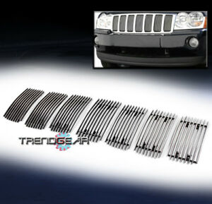 For 2006 2008 Jeep Grand Cherokee Overland Srt8 Upper Billet Grille Vertical 7pc