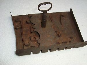 Vintage Original Rough Iron Complete Lock Key 18th Century Colonial Rare